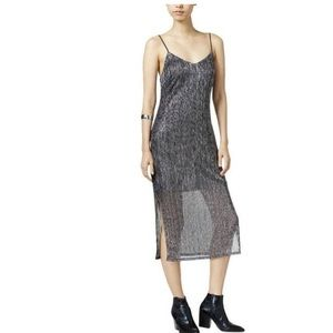 Bar lll v-neck metallic slip cocktail midi dress